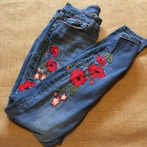 A.N.A. Denim Red Floral Jeggings Jeans Size 2